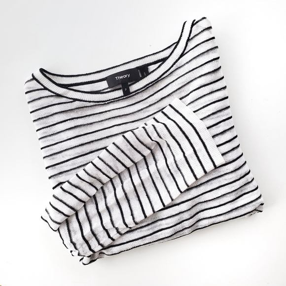 Theory Tops - Theory Trinella Linen Black and White Striped Top